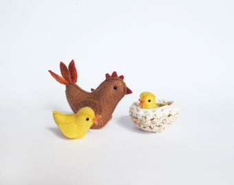 Felt Chicken, Nest and Chick Sewing Pattern PDF - Waldorf style felt animals
