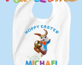 Hoppy Easter Bib - Boys - Personalized with Name