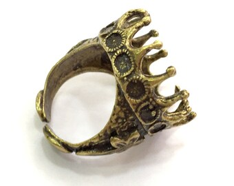Antique Bronze Ring Bezel Base Settings Blank Cabochon Base Mountings Adjustable Ring Blank (20mm blank ) Antique Bronze Plated Brass G5706