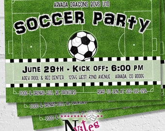 Soccer party invite Etsy