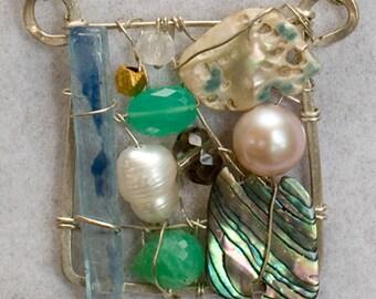 Hans Hofmann no.3 gem art necklace wearable art