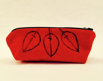 Pencil Case in Panama Red Hand-printed