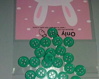 set of 25 buttons green embellissements.scrap...