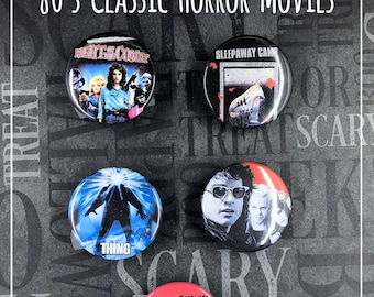 "80's Classic Horror Movies - 1.5"" Button Set - Lost Boys, The Thing, Night of the Comet"