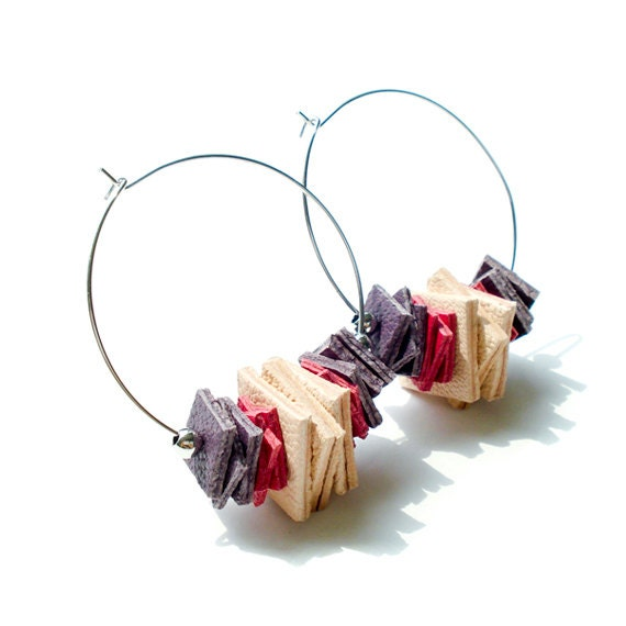 Genuine Leather Cut Out Hoop Earring