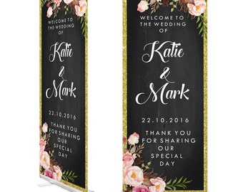 Chalkboard/floral Wedding Welcome Roll Up Banner