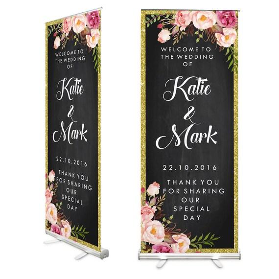 tableaufloral mariage bienvenue roll up banner