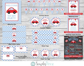 Little Red Car Birthday Printable Party Pack / Printable / DIY / Car, Transportation Birthday