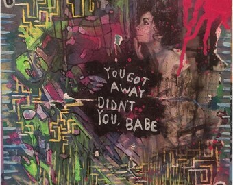LEONARD COHEN mixed media collage art chelsea hotel abstract painting wood bob dylan tim buckley hallelujah