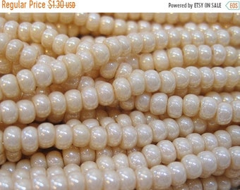 ON SALE 6/0 Eggshell Pearl Czech Preciosa Rocaille Glass Seed Beads 11 grams