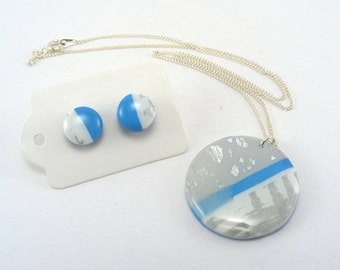 Circle Jewellery Set Polymer Clay, White and Blue Necklace and Studs