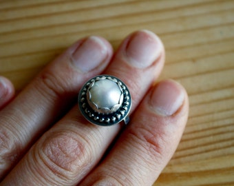 Simple Pearl Ring—Ivory White Fresh Water Pearl Ring in Fine and Sterling Silver—Ready-to-Ship