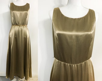 Vintage Gold Silky Dress / Fit & Flare