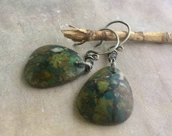 Chrysocolla & Moonstone Earrings