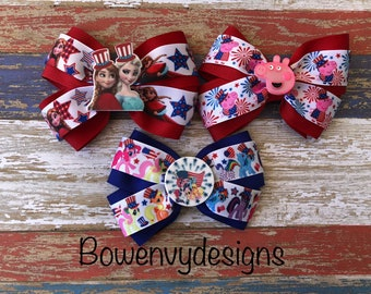 READY to SHIP......4th of July hair bows, Independence Day bows, red white and blue, Stars and Stripes, holiday hairbows