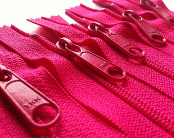 Zippers- YKK Long Handbag Pull Purse Zippers Color 516 Hot Pink- 5 Pieces- Available in 7,8,9,10,12,14,16,18 and 24 inches