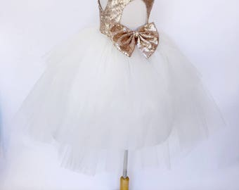 Mat Champagne Sequence Keyhole Hi Low Ivory Tulle Big Bow Wedding Flower Girl Junior Toddler Rustic Graduation Recital Holiday Fall Winter