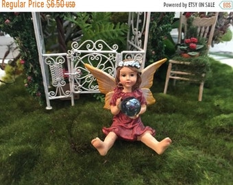 SALE Garden Fairy Figurine, Sitting Fairy Holding Gazing Ball, Yellow Wings, Fairy Figurine, Fairy Garden Accessory, Home & Garden Decor, To