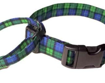 Blue and Green Plaid Dog Collar tartan Fabric Adjustable Buckle & D Ring Scottish Kilt XL L M S XS Mini Puppy Small Extra Large
