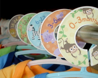 Baby Closet Dividers - Organizer Clothing Dividers - Safari Jungle Zoo Animals for Boys and Girls