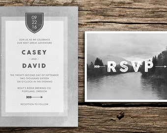 Grey Mountain Wedding Invitation & Postcard RSVP // Seattle Wedding Oregon Wedding Washington Colorado Wedding Mountain Wedding Crest