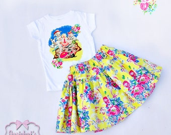 Girl Birthday Skirt - Retro Party Tee and Skirt Set - Cute Animal Party Skirt -  6/12 month to 12 - Vintage Yellow Pink Blue Twirl Skirt