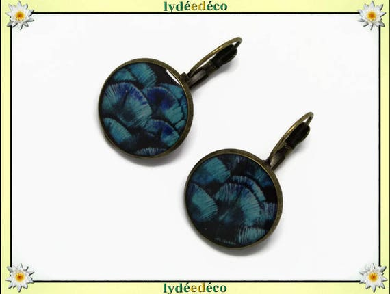Retro round sleeper vintage Peacock turquoise blue purple black resin brass feather bronze 2cm