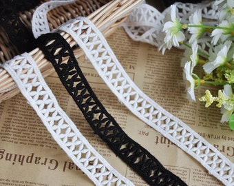 3 Yards Lace Trim Ivory Black Cotton Floral Wedding 0.7 inches width