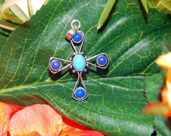 Mighty Archangel inspired vessel - Handcrafted Lapis Lazuli & Sleeping Beauty Turquoise pendant necklace