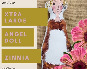 XTRA Large Angel Doll ZENNIA, ITH Machine Embroidery Design for the very big hoop, approx. 34 cm. tall, double-sided softie + 4 wing designs