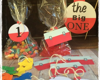 """Fishing theme birthday party treat bags and tags , """" The big ONE """" theme , 12ct"""