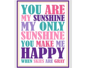Kids Wall Art / Nursery Decor Purple and Pink You Are My Sunshine... print by Finny and Zook