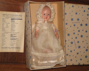 """1940s HOLLYWOOD DOLL """"Lullaby Baby"""" with Wrist Tag, Box & Insert (7-inch Bisque Doll)"""