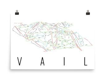 Vail Colorado, Vail Poster Art, Vail Map, Vail Skiing, Vail Print, Vail Ski Art, Vail Sign, Vail Ski Prints, Colorado Gifts, Colorado Map