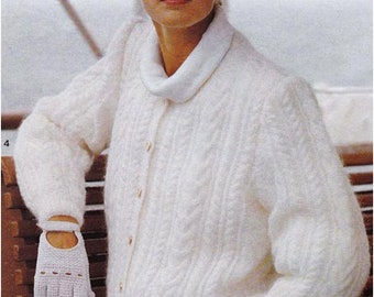 Lady's Aran Cardigan / Jackets  /3 Sizes / Cable Panel Cardigan / Instant Pdf Digital Download Vintage Knitting Pattern -  A5