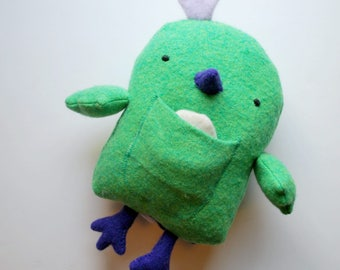 Green and Purple Chicken Plushie with an Egg and Chick - Plush Stuffed Animal - Upcycled - Wool - Ecofriendly - Farm Animal - Play - Fun