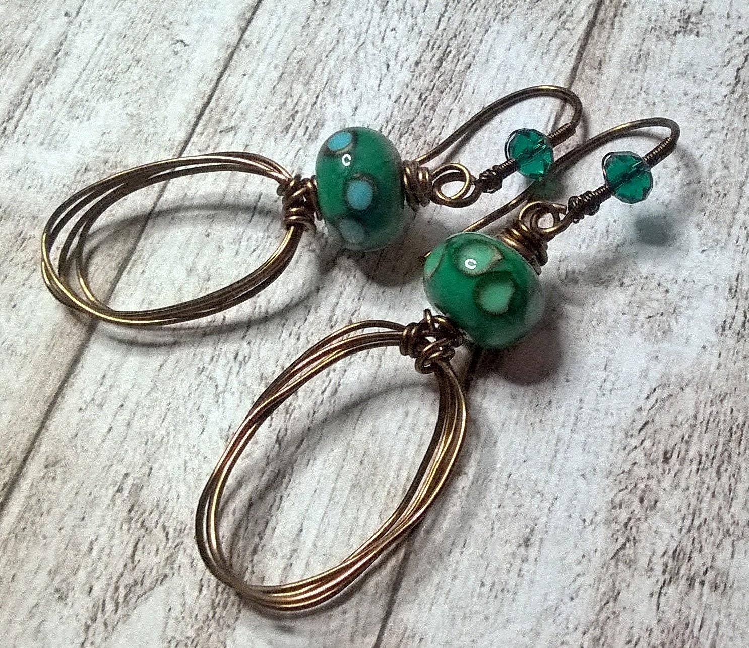 Draht gewickelt Ohrringe grüne Lampe Arbeit Glas Ohrringe