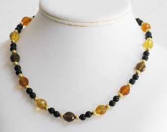 Black Onyx and Autumn Faceted Glass Bead Choker