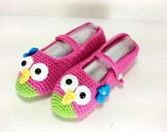 Pink Owl Ballet Slippers Crochet Women GIrls winter Slippers Blue Flower