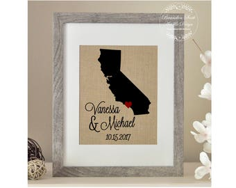 Choose Your State, California Map Framed Burlap Print, Personalized Wedding Map Gift, Bride, Anniversary Gifts for Men, Engagement Gift