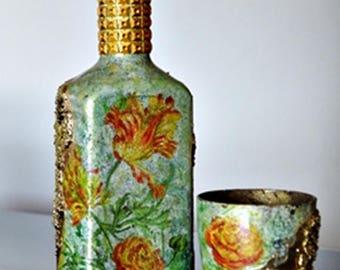 Gold decorative bottle,flowers,livingroom decor,gold glass,handmade,upcycled bottles, house warming gift,centerpiece, house decor,livinggoom