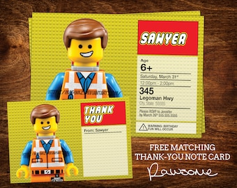 LEGO Movie Birthday Invitation With Matching Notecard- Digital File - Any Age!