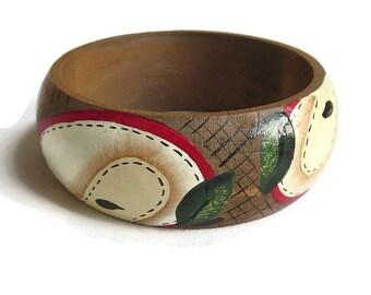 Hand Painted Wood Bangle Bracelet Vintage Artist Signed
