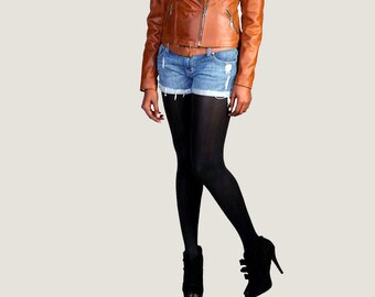 "The Cognac ""Emmanuelle"" Leather Motorcycle Jacket"
