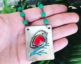 Bird Necklace/Bird on a Branch Necklace/Bird Jewelry/Silver Bird Necklace/Woodland/Rustic/Artisan Jewelry/Forest/Nature Jewelry/Nature Lover