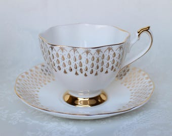 Gold Drops Scalloped Teacup and Saucer by Queen Anne, Gold Tea Cup and Saucer, English Bone China Cup and Saucer