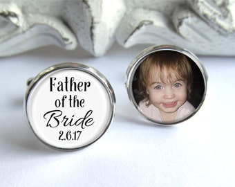 Wedding Cufflinks, Father of the Bride Gift, Personalized Photo Cufflinks