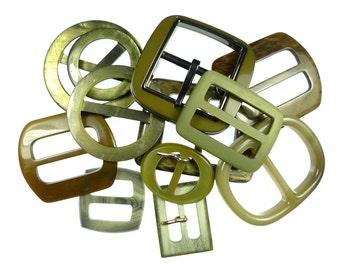 Vintage belt buckles green mix