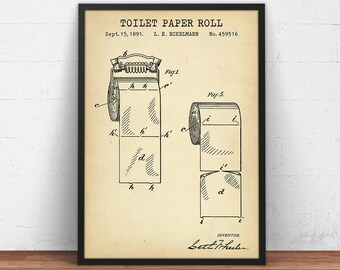 Bathroom Prints, Toilet Paper Patent Printable, Restroom Decor, Lavatory Loo Poster, Powder Room Wall Art, Digital Download Blueprint Art
