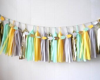 Free Shipping - Tassel Garland - Mint Yellow Gray Gold - Wedding decor - Bridal Shower - Nursery Decor - Photo Prop